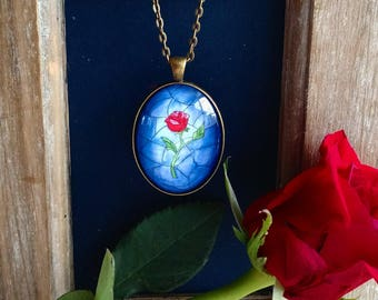 Stainglass Rose Glass Dome Pendant Necklace - Beauty and the Beast Rose - Red Rose Flower with Blue background - Magical Fairytale Rose Gift