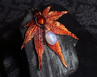 Moonstone Necklace - Moonstone Jewelry - Leaf Necklace - Leaf Jewelry - Rainbow Moonstone - Sterling Silver - June Birthstone - CircesHouse
