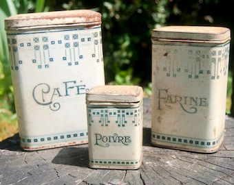 Vintage kitchen canister set - Coffee canister - Storage jars - Flour canister - Kitchen containers - Metal canisters - Antique tin box