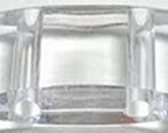 Carrier Beads. Clear, 17x9x5mm. Acrylic Two Hole Beads for Peyote Strips. 10-Pieces.