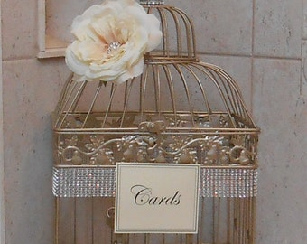 Birdcage Wedding Card Holder | Champagne Gold Birdcage | Wedding Box | Gold Birdcage | Wedding Cardholder
