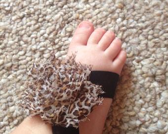 Baby barefoot sandals,Leopard Sandals, Newborn sandals, baby sandals, barefoot sandals