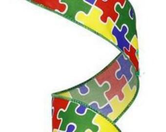 "1.5"" Autism Awareness Puzzle Pieces Ribbon (10 Yards)"