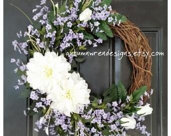 FRONT Door Wreath, Wreath for Door, Mixed Flower Wreath, Wreath with Greenery, Door Wreath