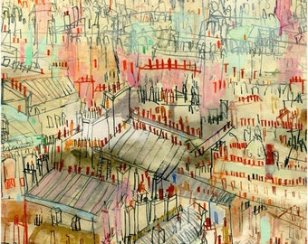 PARIS ROOFTOPS, Signed Print from Watercolour Painting, Sacre Coeur Montmartre, Clare Caulfield, French Wall Decor, Paris Art Print