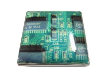 Square Green Computer Circuit Magnet