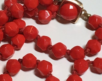 Vintage Faceted Red Glass Bead Necklace Long