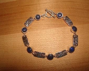 """Lapis Lazuli 925 Sterling Silver Bracelet Size 7.5"""""""