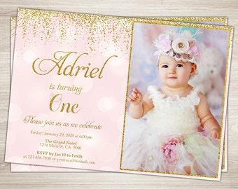 First Birthday Invitation Girl 1st Birthday Invitation Pink and gold glitter first birthday One, Blush Pink Confetti printable photo invite