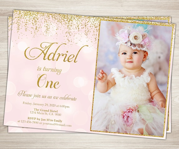 Pink Zebra Print Girls 1st Birthday Invitation: First Birthday Invitation Girl 1st Birthday Invitation Pink