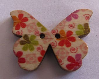 wooden button, set of 2, butterfly, 20mmx28mm, various models