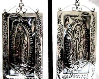 """Guadalupe Retablo 925 Earrings w/Faceted White Topaz by CARLOS GUTIERREZ 4"""" Long"""