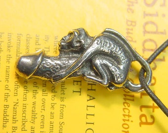 pewter monkey phallic amulet of prosperity Buddhist necklace pendant 0304A