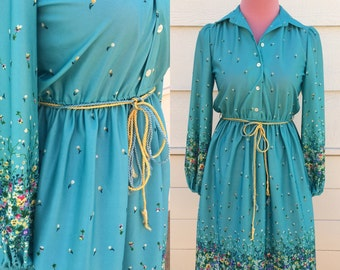 Long sleeve 1970s turquoise floral belted dress - size large