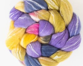 Hand dyed roving,  Merino, Bamboo, Spinning wool, felting, spindling, Hand dyed tops, fibre, felting projects, felting materials, Nuno felt