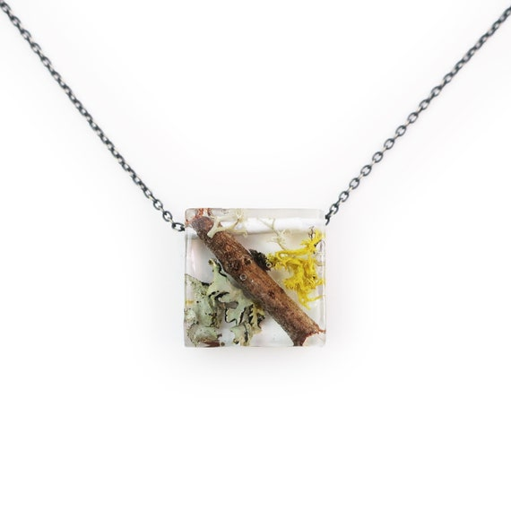 Twiggy Square and Moss Necklace • Nature Necklace • Eco Resin Terrarium Necklace • Geometric Necklace • Nature Jewelry • Botanical Jewelry