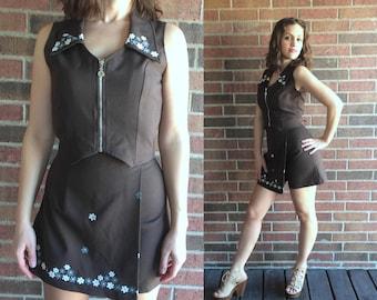 vtg 90s brown FLOWER POWER Zip Up Skort OUTFIT xs/s cyber club kid raver grunge high waisted skirt dress cropped suit set mini skirt