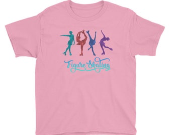 Colorful Figure Skating Youth Short Sleeve T-Shirt for Figure Skaters and Fans