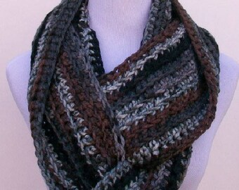 Man's Crochet Infinity Scarf, Handmade Cowl, Crochet Thick Cowl in Gray, Brown and Black, Crochet Cowls, Handmade Infinity Scarf for Women