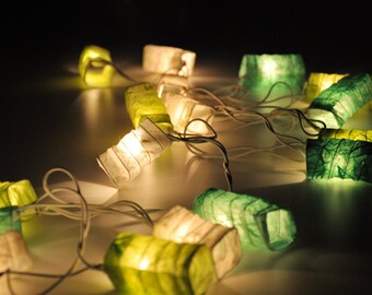Green tone mulberry paper Geometry spring Lanterns for party & decoration (20 bulbs)