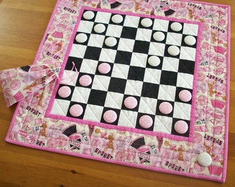 Cheerleading Checkers Game Quilted Coach Gifts | Cheer Team Activity Checkerboard Game | School Spirit Game Board Quilt | Cheerleading Gifts