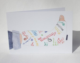 """Postcard """"good recovery plaster"""" drawn and painted by hand"""