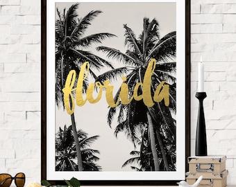 Florida Print, Art Print, Florida Travel Poster, Palm Tree Art, Florida Art, Destination Wedding Gift, Gold Wall Art, Vacation Travel Art