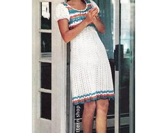 Crochet Dress Pattern Puff Sleeve Peasant Dress Crochet Pattern Shell Stitch PDF Instant Download Womens Size 6 to 16- C50