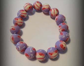 Polymer clay, purple, floral pearl bracelet