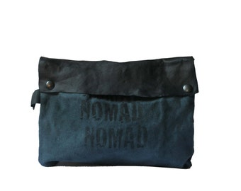 Clutch Handbag ,Black Leather, Gray Canvas Pouch , NOMAD, Holiday Gifts for Her, Women's Handbags, Printed Bags