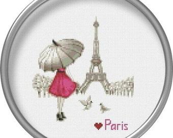 Paris Cross stitch pattern Love Girl Red umbrella France Embroidery chart PDF Eiffel Tower Cityscape cross stitch city counted cross stitch