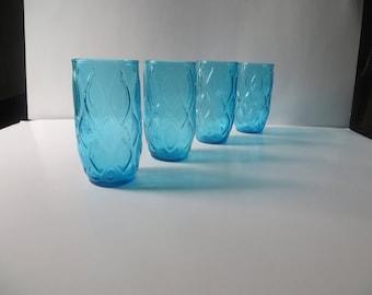 Anchor Hocking Aqua Turquoise Madrid Glasses Tumblers Set of 4