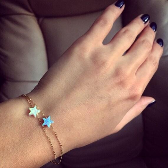Opal Star Bracelet; gold bracelet with a lab Opal star; silver bracelet with opal star