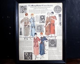 Framed 1920s Fashion Dresses / Magazine Page 11x14