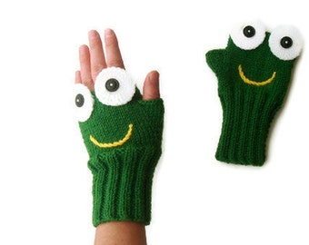 Green Frog Knit Glove, Fingerless Gloves, Boys Girls Birtday Gift, Arm Warmers, Wool Gloves, Knitted Mittens, Crazy Hand Glove, Face Mittens