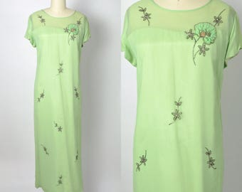 Vintage 1960s Dress 60s Chiffon Gown Lime Green Size Large Beaded Dress