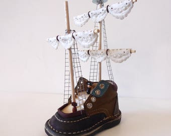 pirate boat shoes. recycling. decoration. trinket