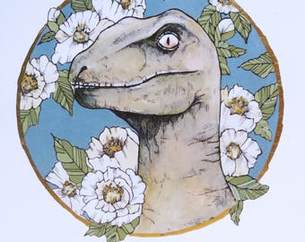 """8"""" x 10"""" Print of floral Velociraptor"""