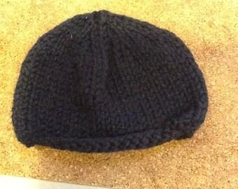 Gift for Mothers Day - Ladies handknitted beanie hat in dark navy