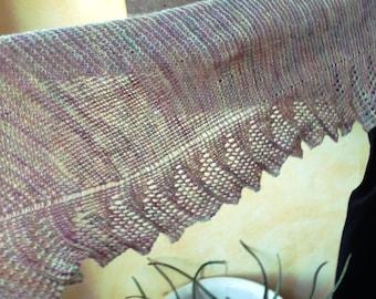 Handknit lace shawl, 100% Shetland wool - shoulder shawl, hap