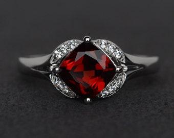 garnet ring red garnet engagement ring natural gemstone sterling silver promise ring January birthstone