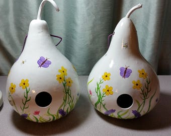 Gourd Birdhouse - White with Spring Flowers
