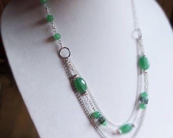 Green Aventurine necklace, Gemstone necklace, Green gemstone necklace, Green & silver necklace, Multi strand gemstone necklace, Gift for her