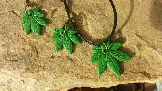 Pot Leaf Earrings and Necklace