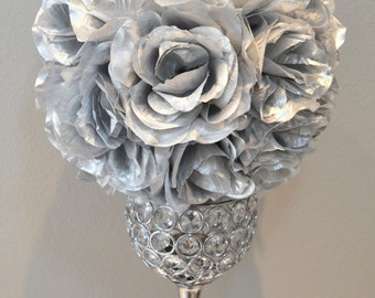 "Metallic Silver flower ball, WEDDING CENTERPIECE, silk pomander kissing ball, flower girl 7"" 8"" 10"" 12 14"" 16"" 18"""