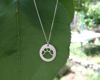 Elephant silver necklace, Paw print necklace, Elephant lovers gift, Lucky silver charm, Elephant charm, Nature lover jewelry Sterling silver