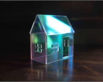 Rainbow Iridescent Acrylic House - mirrored house structure