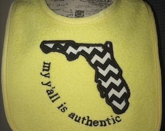 Florida home bib. My y'all is authentic Any state :) UCF Black and gold cheveron