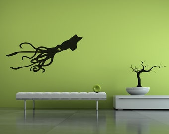 Giant Squid 4ft Wall Decal | octopus wall decal squid wall decal squid wall art livingroom wall art bedroom wall art nautical tentacles