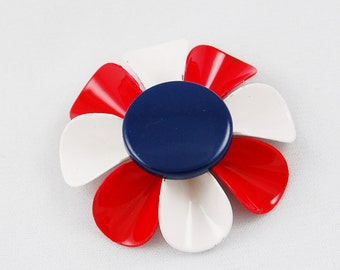Vintage Large Red White and Blue Flower Brooch